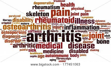 Arthritis word cloud concept. Vector illustration on white
