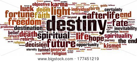 Destiny word cloud concept. Vector illustration on white