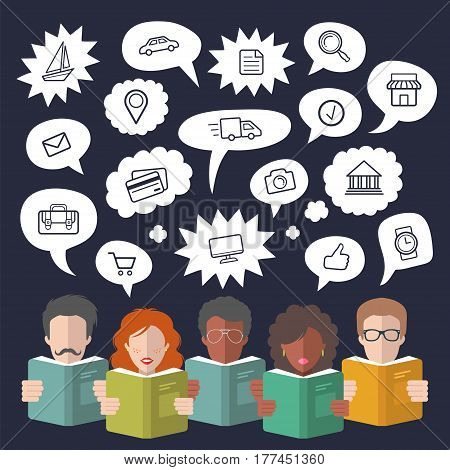 Vector illustration of social media icons in speech bubbles with people reading books in flat style