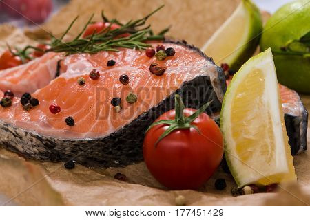 Fresh Salmon Steaks Surrounded With Spices