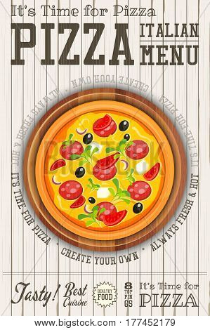 Traditional Italian Food Poster - Pizza Pizza Cutter and Cake Server on White Wooden Background. Placard Style. Top View. Vector Illustration.