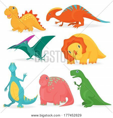 The vector illustration of the set of adorable bright dinosaurs. Cute cartoon dino collection