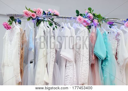 Beautiful Bridal Dresses Or Bridesmaid Dresses On A Mannequin. Wedding Shopping