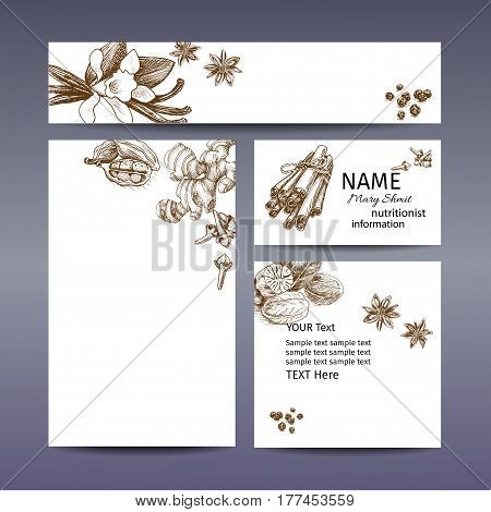 Corporate Style - Spices. Vector Background Sketch Spices. Illustration With Star Anise, Vanilla, Ci