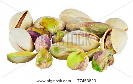 Randoom group of pistachio nuts. Isolated with path on white background. Macro image with big depth of field.