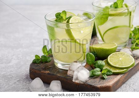 Cold refreshing summer drink with lime and mint in a glass on a grey concrete or stone background. Selective focus, copy space.