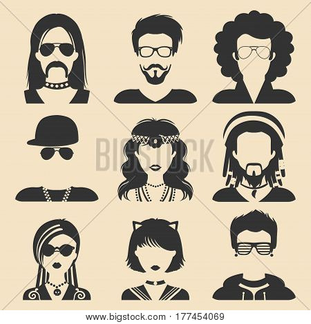 Vector set of different subcultures man and woman app icons in flat style. Goth, raper, hippy, hipster, raver, rocker, rastafarian, anime and disco fan web images