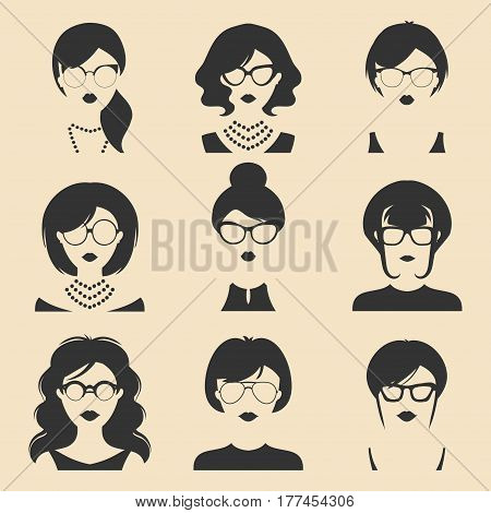 Big vector set of different women app icons in glasses in flat style. Female faces or heads images