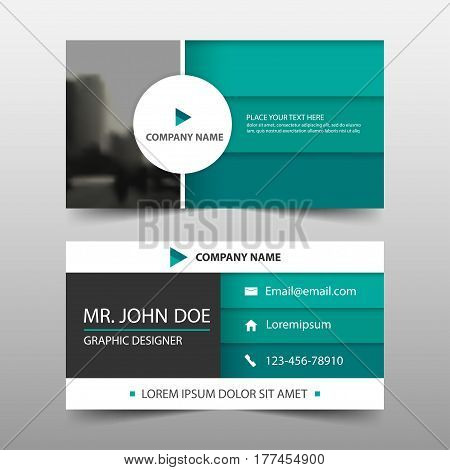 Green circle corporate business card name card template horizontal simple clean layout design template Business banner template for website