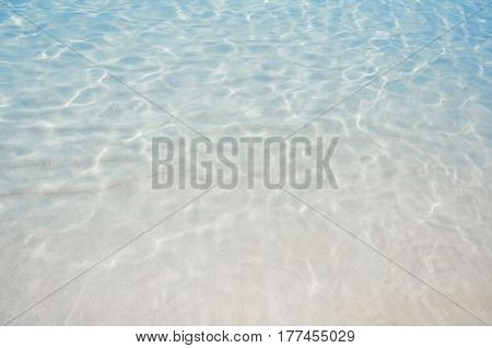 Clear blue transparent rippled water on the beach.