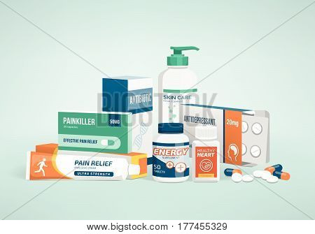 Healthcare medicine and drug types pharmaceutical packaging
