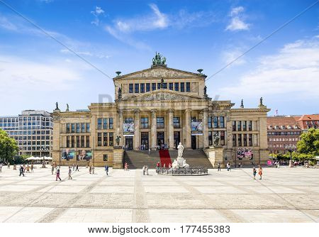 Berlin Germany 20 July 2016: View onto the historic Berlin Concert Hall at famous Gendarmenmarkt Square Berlin Germany 20 July 2016