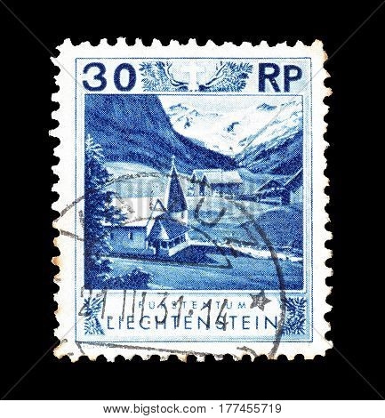 LIECHTENSTEIN - CIRCA 1930 : Cancelled postage stamp printed by Liechtenstein, that shows Chapel.