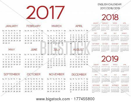 English Calendar 2017-2018-2019 vector red text is outline font is armata