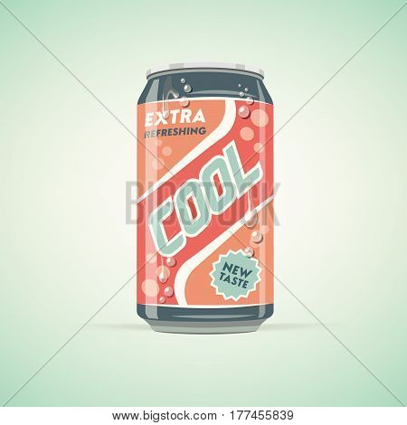 Vintage soda drink can with colorful label