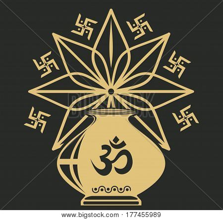 Indian festival icon with Kalasha also kalash or kalasa, mandala, rangoli, and Hinduism, Buddhism, Jainism sacral symbol Om or Aum. Vector illustration