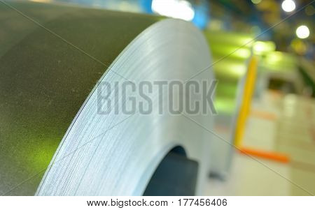 galvanized steel coil in steel plant, close up