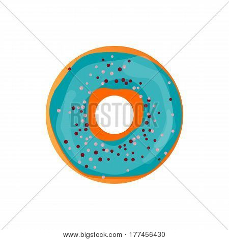 Donut delicious with sprinkles isolated on white background. Vector doughnut icon