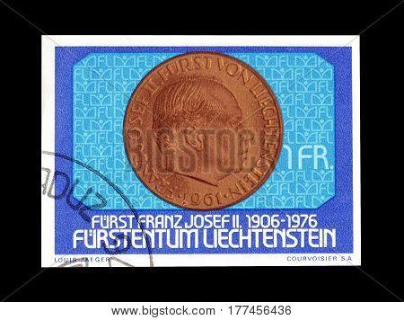 LIECHTENSTEIN - CIRCA 1976 : Cancelled postage stamp printed by Liechtenstein, that shows Old coin.