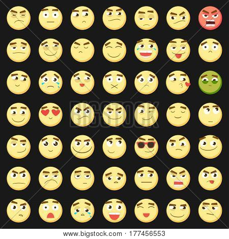 Yellow big emoticon set. Collection of Emoji. 3d emoticons. Smiley face icons isolated on black background. Vector eps10