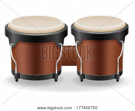 bongo drums musical instruments stock vector illustration isolated on white background