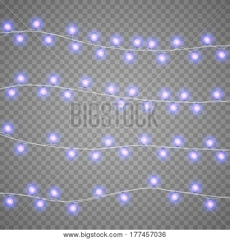 Christmas violet garlands isolation on transparent background. Xmas realistic overlay lights card. Holidays decorations bright lamps. New Year decorations elements. Vector gloving garland illustration