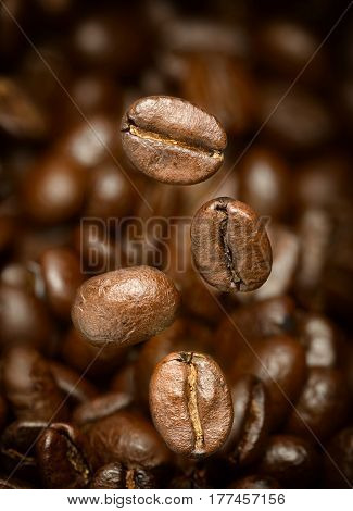 Macro photo of flying coffee beans over a brown background. All beans in focus.