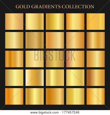 Golden gradients collection background, gold metal template. Vector golden metallic set eps10