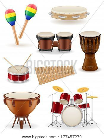 percussion musical instruments set icons stock vector illustration isolated on white background