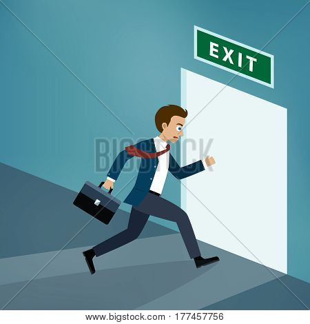 Businessman runs to the exit door in the office.