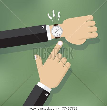 Illustration of a hand pointing at watch.