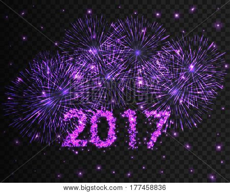 Happy New Year 2017 blue firework background. Greeting card with particle. Vector illustration eps10