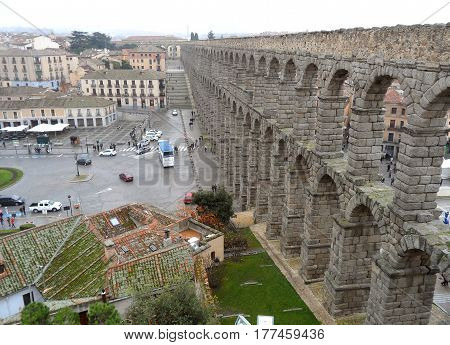 Breathtaking View of Aqueduct of Segovia in the Rainy Day, Segovia, Spain