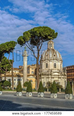 Church of the Most Holy Name of Mary and Trajan's Column at the Trajan Forum Rome
