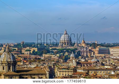 view of Rome with St. Peter's Basilica from Monument to Victor Emmanuel II Rome