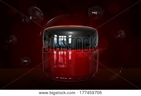 3d illustraton of realistic cream container bottle mock up. Cosmetic cream glass bottle. Beauty cream in a jar