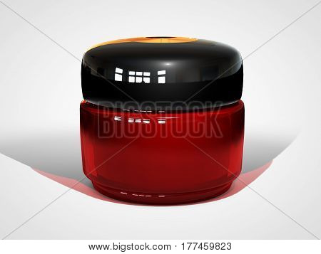 3d illustraton of realistic cream container bottle mock up. Cosmetic cream glass bottle. Beauty cream in a jar isolated on white