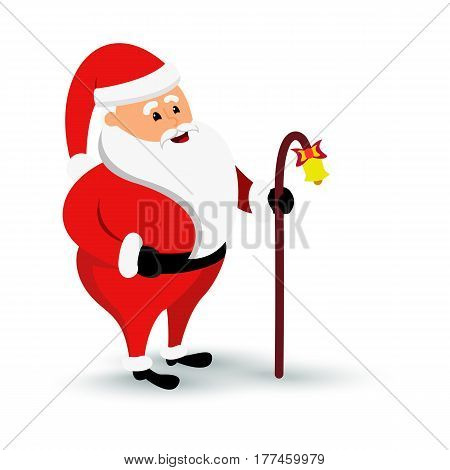 Christmas smiling Santa Claus character is coming. Cartoon bearded man in festive costume Santa Claus with baculus and bell. Vector xmas illustration eps10