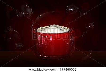 3d illustraton of opened cream container bottle mock up. Cosmetic cream glass bottle. Realistic beauty cream in a jar