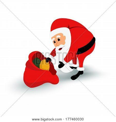 Christmas Santa Claus character with gift bag. Cartoon bearded man in festive costume. Vector xmas illustration eps10