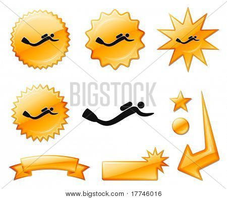 Scuba Diver Icon on Orange Burst Banners and Medals Original Vector Illustration