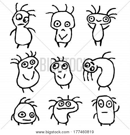 Funny Things in Different Shapes in Black White Colors Vector Illustration. Cartoon Isolated Characters Freehand Digital Drawing Set. Cheerful Collection Creatures for Cute Web Icons and Shirt.