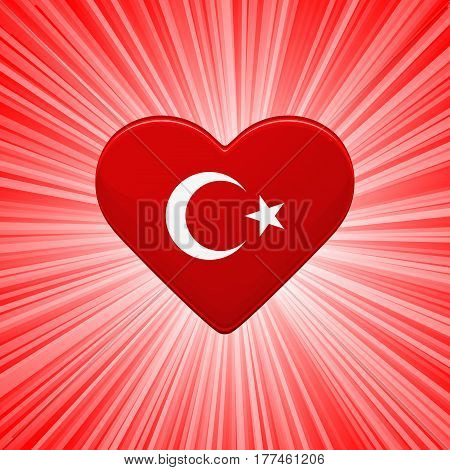 Red heart with turkish flag white star and crescent. Greeting card flyer poster for National Day of Turkey. Colorful template for celebrations. Patriotic vector illustration