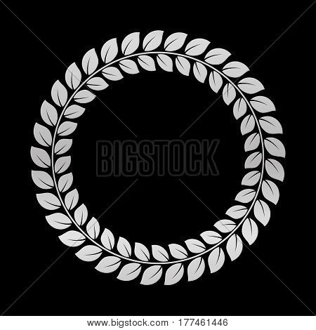 Silver Laurel Wreath. Award for winners. Honoring champions. Trophy for challenge. Symbol of victory and achievements. Vector illustration. Design element for posters decoration.
