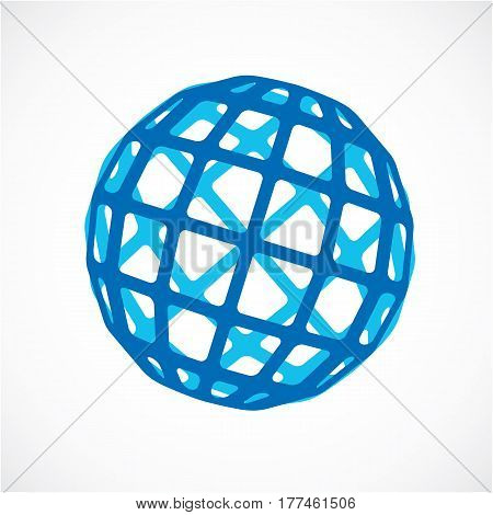 3D Vector Digital Spherical Object Made Using Square Facets. Low Poly Shape, Blue Polygonal Globe, A