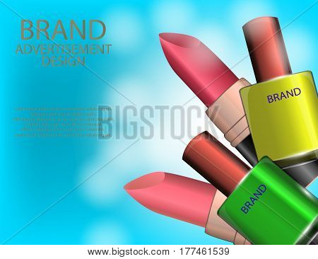 Colorful nail lacquer and lipsticks template glossy bottles on the sparkling effects background. Mock-up 3D Realistic Vector illustration for design template