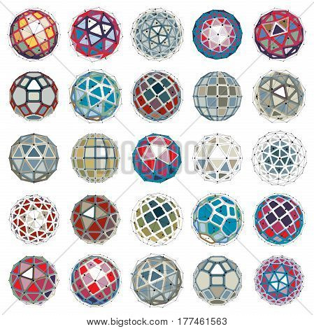 Set Of Vector Dimensional Wireframe Low Poly Objects, Spherical Facet Shapes With Grid. Technology 3