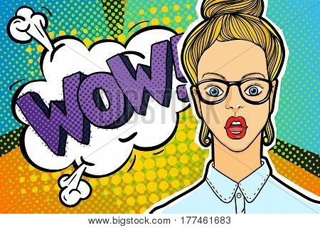 Surprised and shocked woman with open mouth in pop art comics style with WOW word bubble. WOW message in comic style.