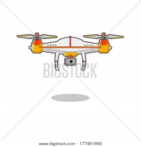Quadcopter aerial drone with camera for photography or video surveillance. Flat design, vector illustration.