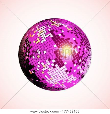 Disco ball icon. Purple disco mirror ball isolated. Design element for party flyer poster or brochures. Vector illustration.